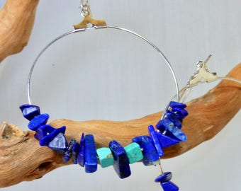 Hoop lapis lazuli and turquoise