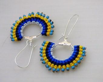 micro macrame blue earrings