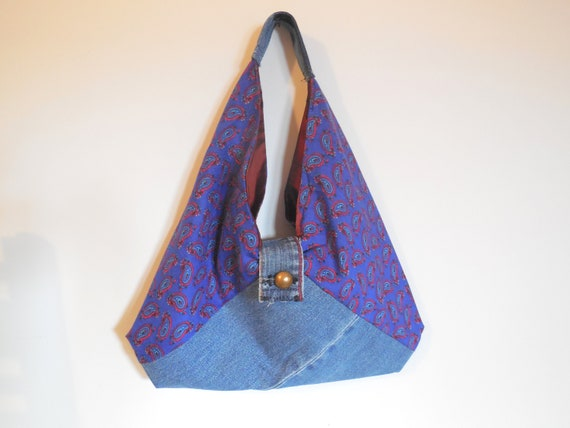 Bag Origami Purse Textile Recycled Jeans And Cotton Print Etsy