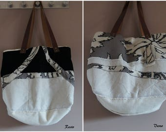 Recycled chic Tote, velvet and linen, textile bag