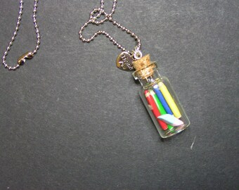 pendant necklace vial year Fimo fine centerpiece gift