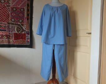 Woman in blue chambray cotton net pajamas