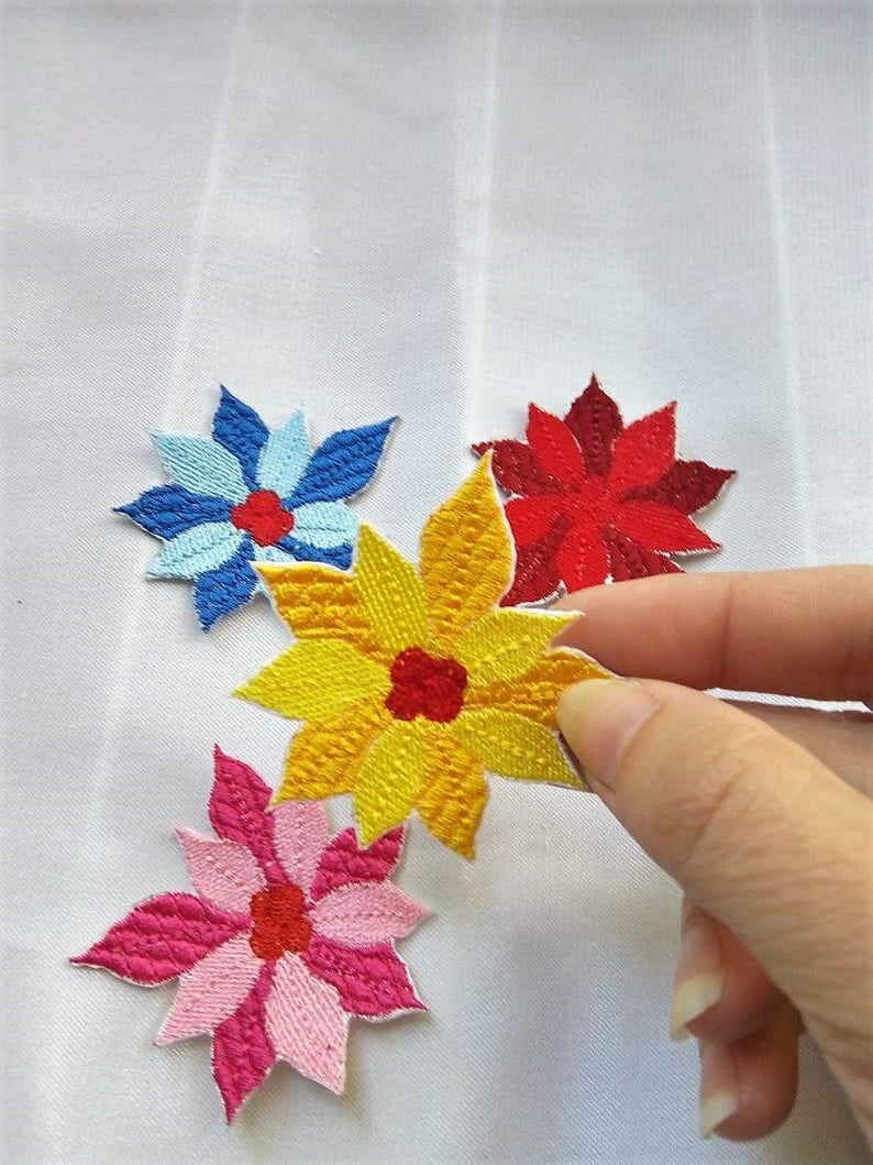 FREE SHIPPING Iron on Flower Patch Flower Patches Poinsettia Applique Embroidered Patch Poinsettia Sew on Patches