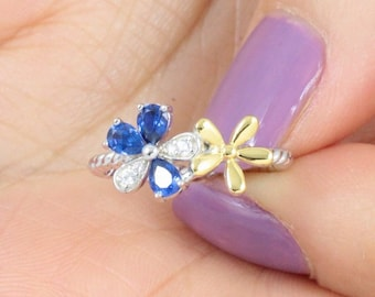 Gold Over 925 Sterling Silver Sapphire Daisy Statement Band Ring Size 3-12 SE433