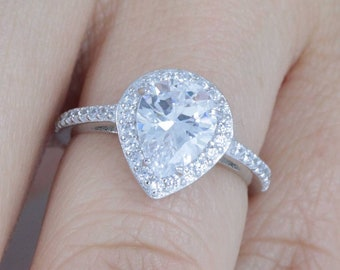 8ct Radiant Cut Halo 925 Sterling Silver Cocktail CZ Engagement Ring Promise Celebration Ring Women/'s Size 3-14 MLF14