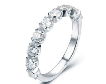 925 Sterling Silver Half Eternity 9-Stone CZ Engagement Ring Wedding Band Bridal Celebration Ring Women's Size 3-15 S3404