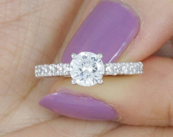 Solitaire Sterling Silver CZ Engagement Wedding Ring Women's Size 3-12 SS3399