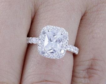 Princess Cushion Cut Halo 925 Sterling Silver CZ Diamond Simulant CZ Engagement Ring Wedding Band Bridal Ring Women Size 2.5-15 SE082A