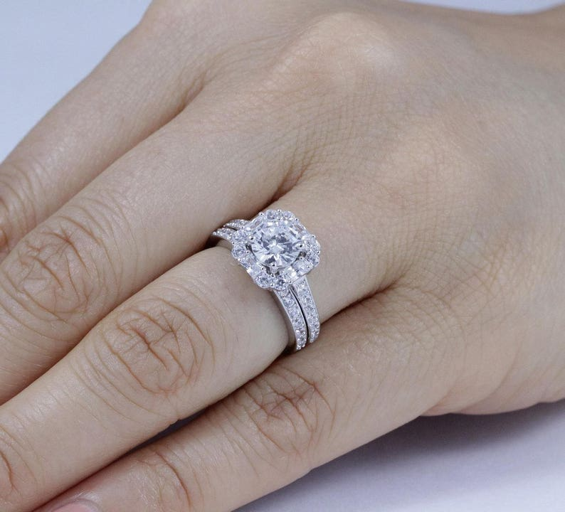 Jewelry & Watches .925 Sterling Silver 3 Mm Cz 3-stone Engagement Ring Engagement & Wedding