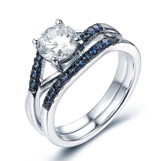 Wedding Set Round Cz .925 Sterling Silver Ring Sizes 4-11
