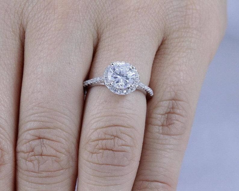 925 Sterling Silver Halo Round Cut Diamond Simulant CZ Wedding image 0