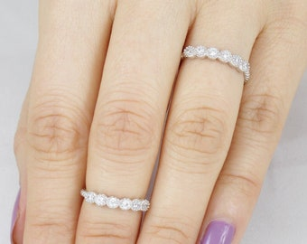 Sterling Silver Skinny 6-Stone Cz Knuckle Midi Band Ring Women Size 3-12 SE4189A