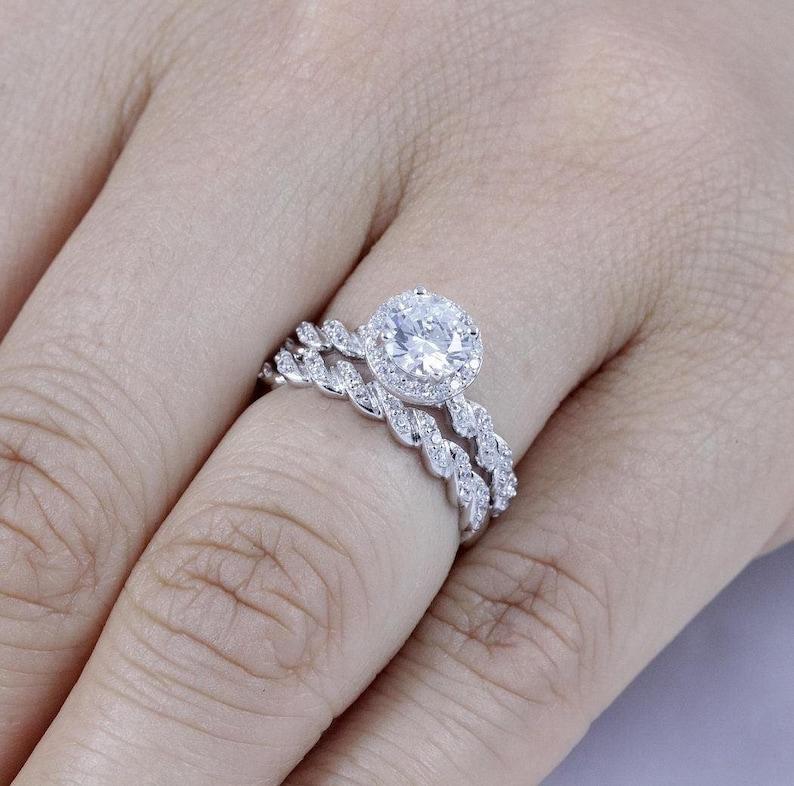 925 Sterling Silver Round Halo Diamond Simulant CZ Wedding image 0