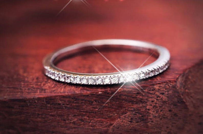 1mm Women's Diamond Simulant Cubic Zircon CZ 925 Sterling image 1