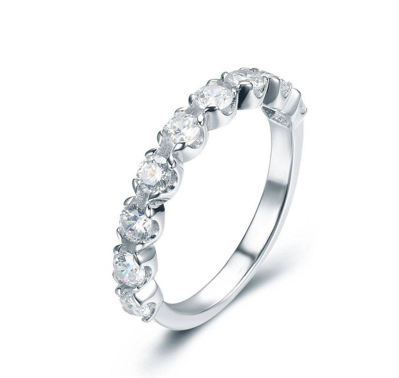 925 Sterling Silver Half Eternity 9-Stone CZ Engagement Ring image 0