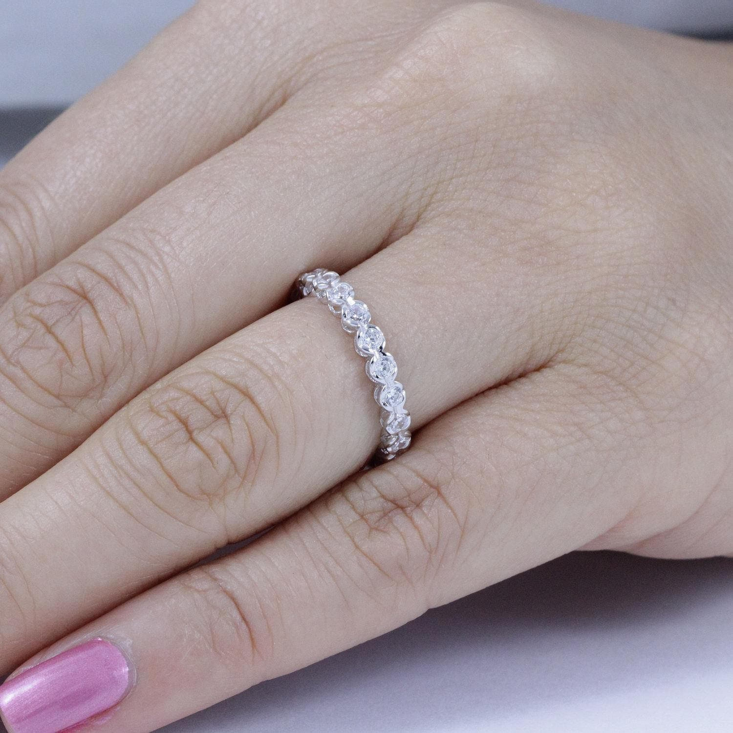 925 Sterling Silver AAA Quality CZ Half Eternity Ring