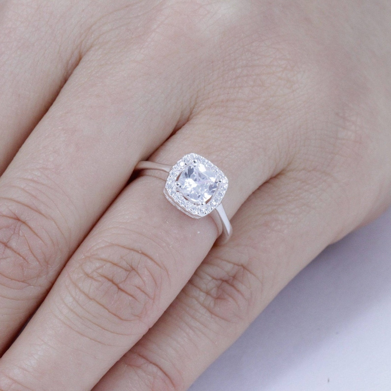 Cushion Cut Halo 925 Sterling Silver Cz Engagement Ring Wedding Band For Women Statement Promise Celebration Ring Gift Size 3 14 Se81