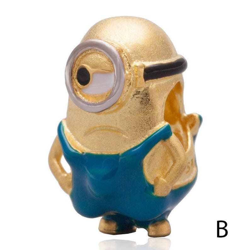 Minions 18K Gold Over 925 Sterling Silver Dangle Charm Bead Fit European Bracelet