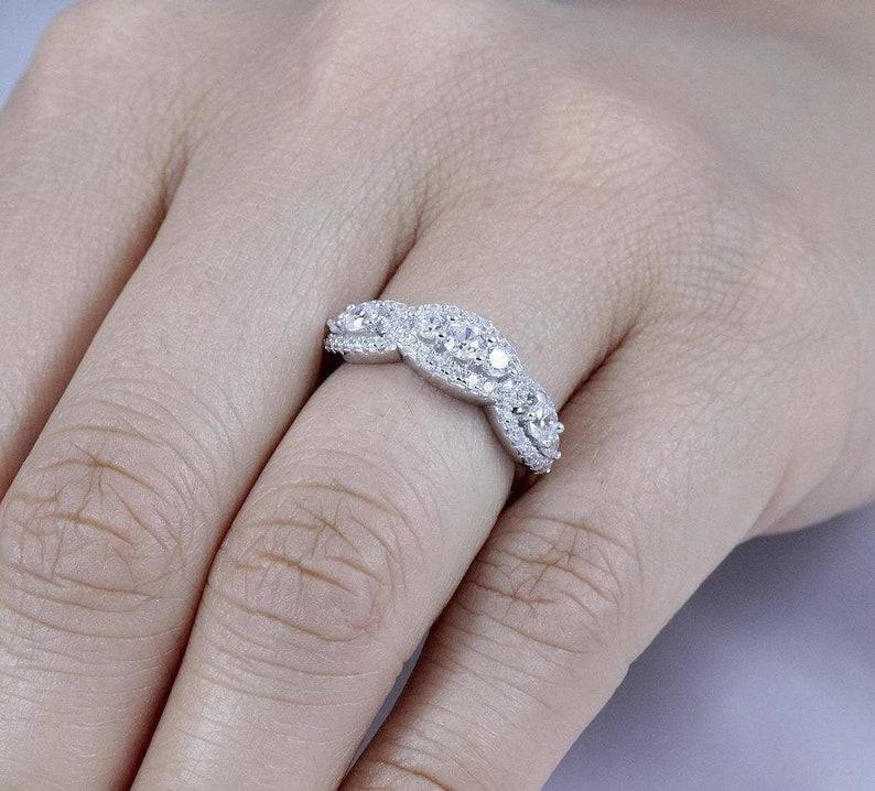 925 Sterling Silver Half Eternity Diamond Simulant CZ image 0