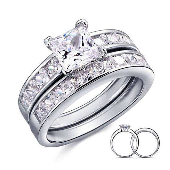 """Rhodium REAL 925 STERLING SILVER /""""Set of 3 Rings/"""" Silver Gold PLATED GIRL"""