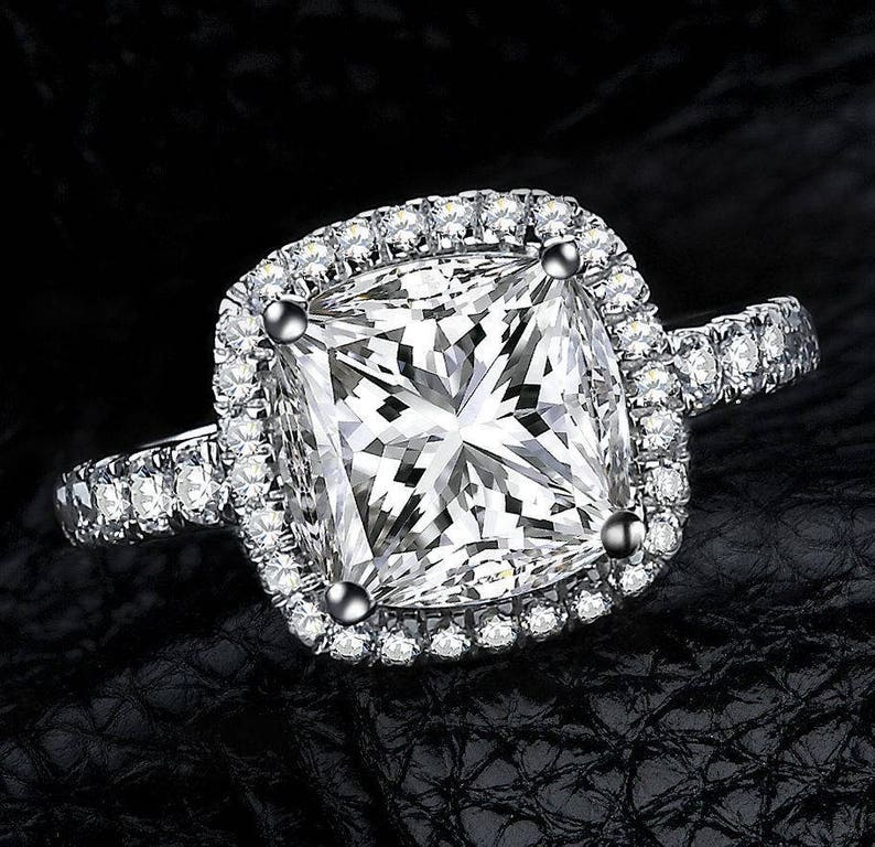 925 Sterling Silver Cushion Cut Cz Engagement Ring Wedding Band Bridal Promise Ring Women S Half Sizes Available 3 12 Ss1141