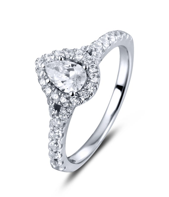 Teardrop Ring New .925 Sterling Silver Solitaire Wedding Engagement Band