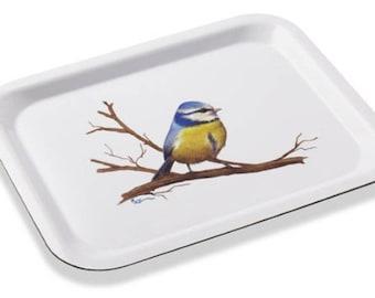 the blue tit, painter MEZ deMEZERAC white tray