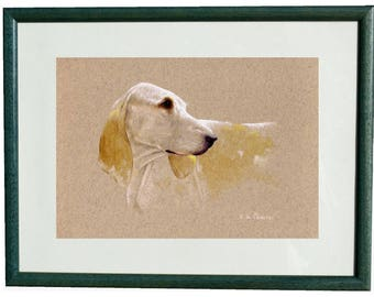 """fine art print framed MEZ - """"Dog porcelain"""", made from a work of painter MEZ deMEZERAC"""