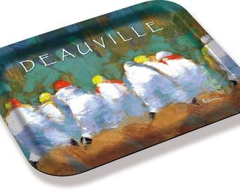 """""""Jockeys in Deauville"""" by the artist Martin deMEZERAC tray"""