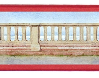 """Box-pencil case red adorned with """"The railing of Cabourg"""", published painter MEZ deMEZERAC"""