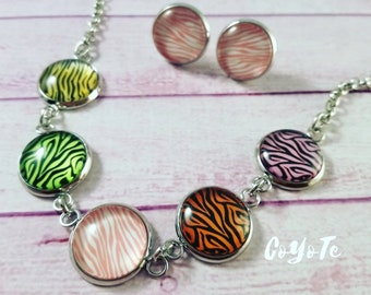 Animal print, necklace and earrings, cabochon glass, original gift
