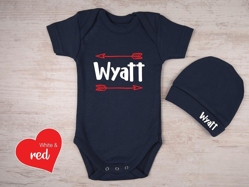 Baby Girl Personalized Baby Gift New Baby Gift Baby Boy Custom Name Bodysuit /& Personalized Hat Set