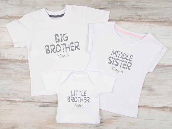 Newborn Gift Personalised Big//Little Sister//Brother Baby Grow,Outfit,Bodysuit