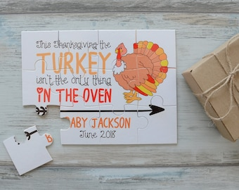 Thanksgiving Pregnancy Announcement to Family, Personalized Thanksgiving Pregnancy Reveal Puzzle, Pregnancy Announcement to Grandparents