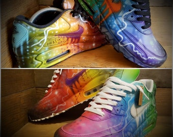 Custom Nike Air max 90 painted Graffiti drip funky galaxy Colours