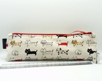 Long Cats Pencil Case - Kawaii Cute - School College Supplies - Stationery - Animal Pet Lover Gift - Pens - Small Zip Pouch - Red Zipper