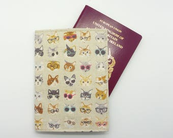 Cats with Glasses Passport Cover - Gift for Cat Lover - Passport Holder Case - Travel Accessories Gift Wallet - Beige Japanese Linen Mix