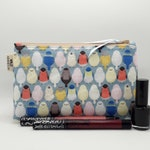 Little Birds Makeup Bag - Cute Cosmetics Pouch - Gift for Her - Zipper Toiletry Bag - Tampon Case - Purse Organiser - Blue Make Up Zip Pouch