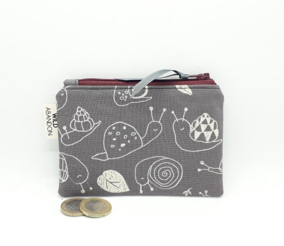 Makeup Case Snail Pouch Coin Purse Gift for Her Purse Accessories Snails Race Small Zipper Pouch