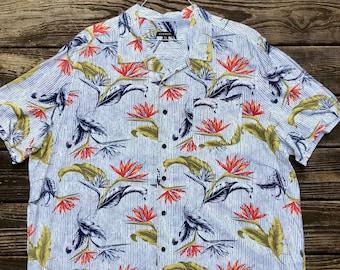d2aa554d0 3XL Hawaiian Shirt- Floral Print- Birds of Paradise- Aloha- XXXL- Palm-  Stripes- Plus Size- Wedding- Beach- Groom- Tiki- Formal- Vintage