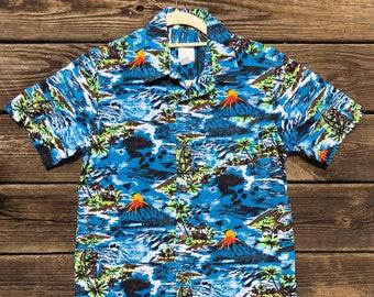 4d3b98af4b6 Kids L Volcano Hawaiian Shirt- Blue- Tiki- Hawaii- Beach- Cruise- Vacation-  Old Navy- Large- Palm Trees- Aloha- Luau- island- ocean- Summer