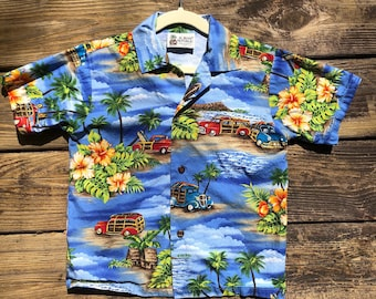 e0d633a9 4T Aloha Republic Hawaiian Shirt- Tiki- Vintage- Woody- Woodie- Surf-  Classic Car- Hot Rod- Rockabilly- Toddler- 4 year old- Tropical- Beach