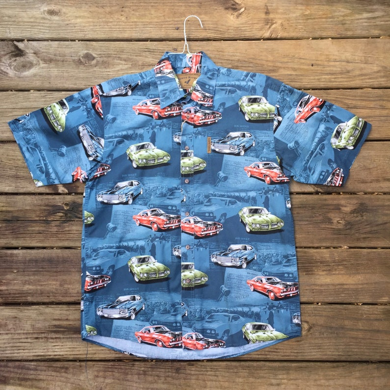 22500f99 Hot Rod Hawaiian Shirt Race Track Men's Medium | Etsy