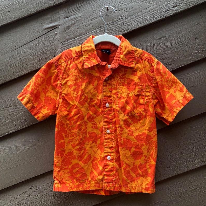 b8d962e6 5yo Hawaiian Shirt Orange Osh Kosh Palm Trees Hawaii | Etsy