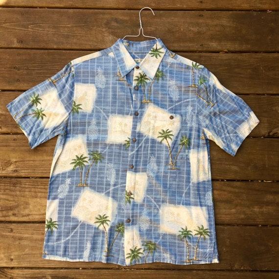 Coconut Buttons Vintage Blue PINEAPPLES HAWAIIAN SHIRT 1980s  mens size l