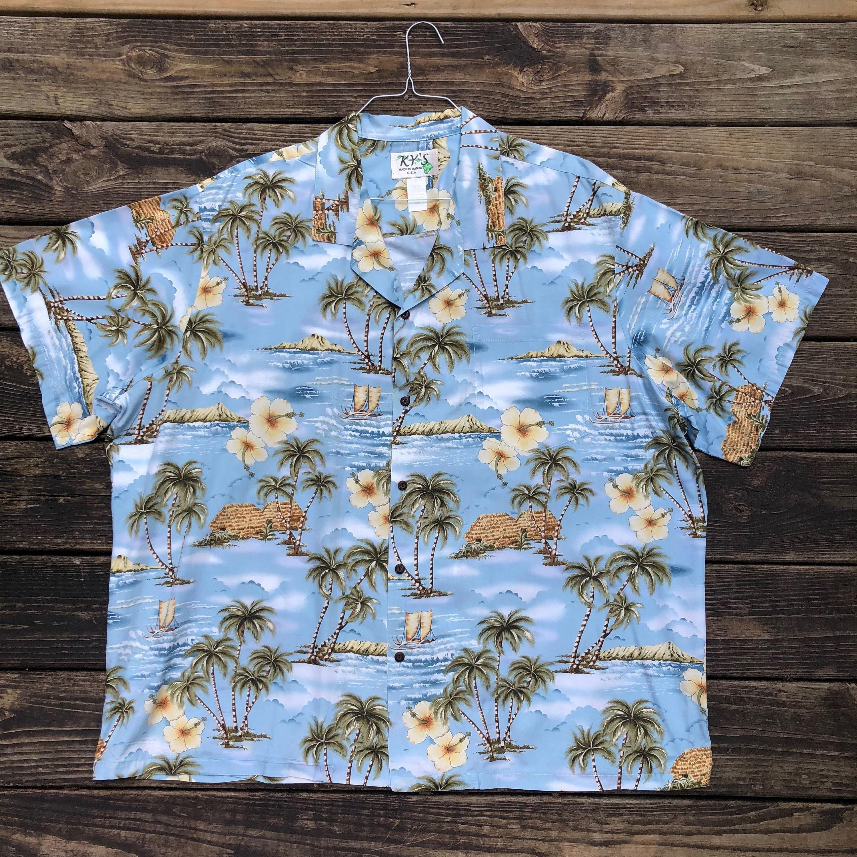 4XL KY fait dans Hawaii - 100 % coton coton % - Plus Size - plage mariage - authentique-île-bateau-Oasis-XXXXL-Palm arbres-Hibiscus-bleu-USA-Luau 29dfb0