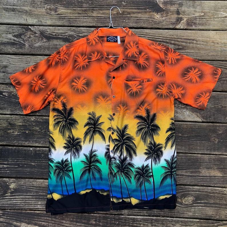 9d16f91a Palm Trees Hawaiian Shirt Men's Large Vintage Palms | Etsy