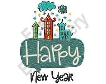 Happy New Year - Machine Embroidery Design