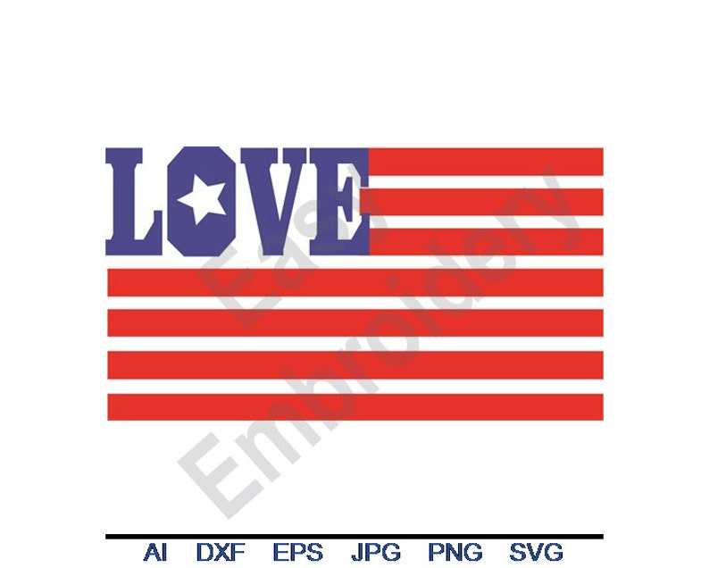 Usa Love Flag - Svg, Dxf, Eps, Png, Jpg, Vector Art, USA Love Clipart,  American flag Cut File, Patriotic SVG, 4th of July