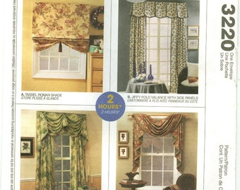 3220 McCall's - Home DEC in a SEC - Trumpet Swag, Jiffy Fold Valance, Tassle Roman Shade, Pole Swag and Jabot - UNCUT sewing pattern
